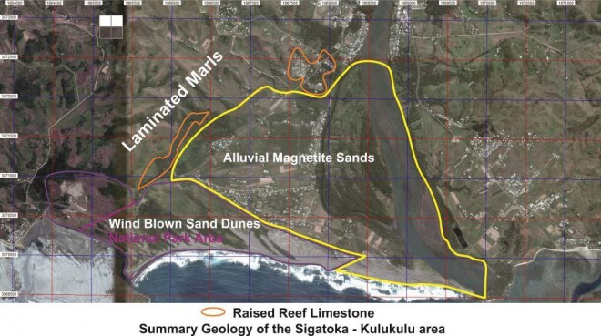 Fig 2: Aerial image of Sigatoka, showing outline of onshore iron sand deposits (yellow line)