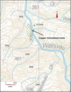 Map showing location of new copper discovery (stippled area) and Amoco drill holes (DH1 to DH5) drilled in 1974-75